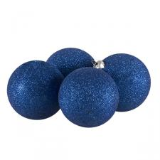 Xmas Baubles - Pack of 4 x 100mm Blue Glitter Shatterproof
