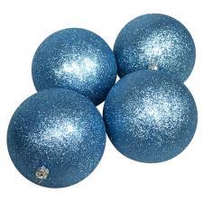 Xmas Baubles - Pack of 4 x 140 Gentle Blue Glitter Shatterproof