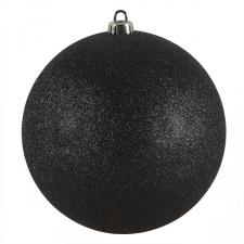 Xmas Baubles - Single 200mm Black Glitter Shatterproof