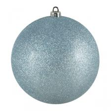 Xmas Baubles - Single 200mm Pale Turquoise Glitter Shatterproof