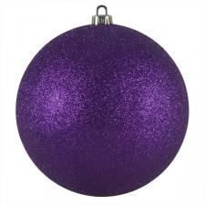 Xmas Baubles - Single 200mm Purple Glitter Shatterproof