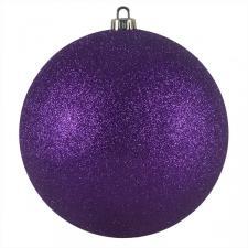 Xmas Baubles - Single 200mm Purple Glitter Shatterproof