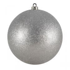 Xmas Baubles - Single 200mm Silver Glitter Shatterproof