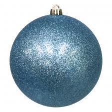 Xmas Baubles - Single 250mm Gentle Blue Glitter Shatterproof
