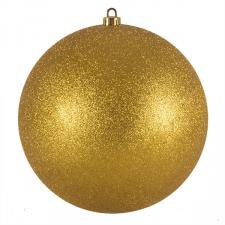 Xmas Baubles - Single 250mm Gold Glitter Shatterproof
