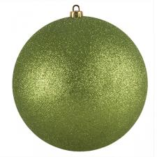 Xmas Baubles - Single 250mm Lime Green Glitter Shatterproof