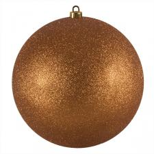 Xmas Baubles - Single 250mm Copper Orange Glitter Shatterproof