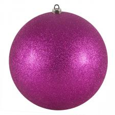 Xmas Baubles - Single 250mm Cerise Pink Glitter Shatterproof
