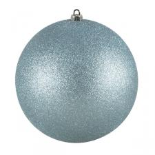 Xmas Baubles - Single 250mm Pale Turquoise Glitter Shatterproof