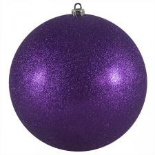 Xmas Baubles - Single 250mm Purple Glitter Shatterproof
