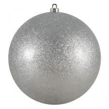 Xmas Baubles - Single 250mm Silver Glitter Shatterproof