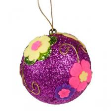 Fuchsia Pink Ball Hanger With Multi Coloured Felt Flowers - 100mm