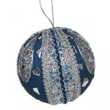 Dark Blue & Silver Mirror Beaded Bauble - 100mm
