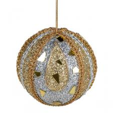 Silver & Gold Mirror Beaded Bauble - 100mm