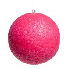 Neon Pink Beaded Bauble - 100mm