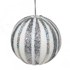 White & Silver Striped Sequin Bauble - 100mm