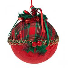 Red & Tartan Bauble With Holly Decoration - 100mm