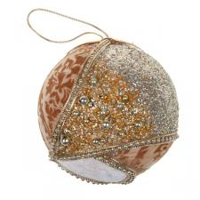 Gold & Cream Fabric & Beaded Bauble - 100mm