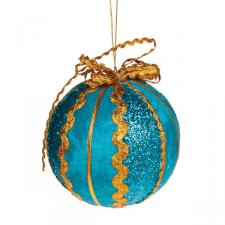 Turquoise & Gold Ribbon  Bauble - 100mm