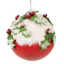 Snow & Holly Decorated Bauble - 100mm