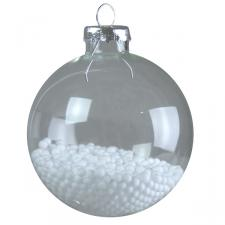 Clear Glass Snowball Baubles - 4 x 70mm