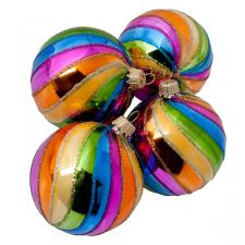 Krebs 4 X 67mm Multicoloured Glitter Swirl Glass Decorations