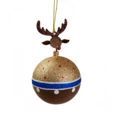 Brown & Gold Reindeer Hanging Bauble - 8cm