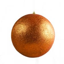 Orange Shatterproof Glitter Bauble - 180mm