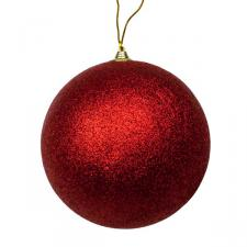 Red Shatterproof Glitter Bauble - 180mm