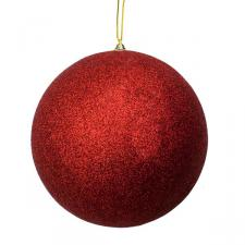 Red Shatterproof Glitter Bauble - 250mm