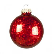 Krebs Glass Red Spangle Baubles - 6 x 67mm