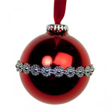 Red Shiny Bauble With Stripe Trim - 65mm