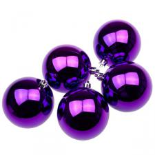 Purple UV Protected Shatterproof Baubles - Pack of 6 x 80mm