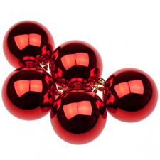 Red UV Protected Shatterproof Baubles - Pack of 6 x 80mm