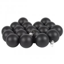 Luxury Black Satin Finish Shatterproof Baubles - Pack of 18 x 40mm