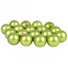 Luxury Lime Green Satin Finish Shatterproof Baubles - Pack of 18 x 40mm