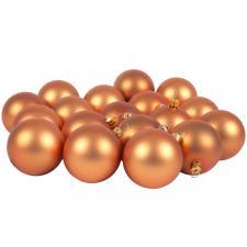 Luxury Copper Orange Satin Finish Shatterproof Baubles - Pack of 18 x 60mm
