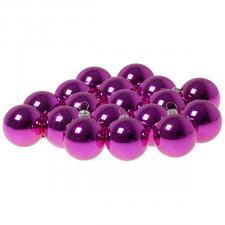 Luxury Cerise Pink Shiny Finish Shatterproof Bauble Range - Pack of 18 x 40mm