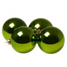 Luxury Lime Green Shiny Finish Shatterproof Bauble Range - Pack of 4 x 100mm