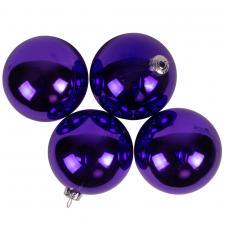 Luxury Purple Shiny Finish Shatterproof Bauble Range - Pack of 4 x 100mm