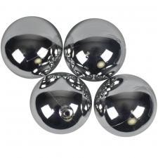 Luxury Silver Shiny Finish Shatterproof Bauble Range - Pack of 4 x 100mm