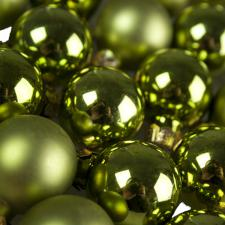 Green Matt & Shiny Glass Baubles - 24 x 25mm