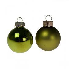 Green Matt & Shiny Glass Baubles - 64 x 40mm