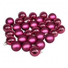 Heather Pink Matt & Shiny Glass Baubles - 64 x 40mm