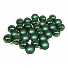Lake Green Matt & Shiny Glass Baubles - 64 x 40mm