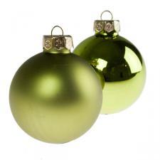 Green Matt & Shiny Glass Baubles - 36 x 57mm