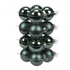 Lake Green Matt & Shiny Glass Baubles - 16 x 80mm