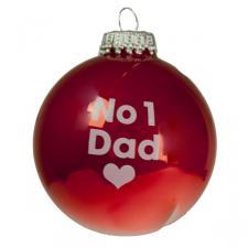 Santa Balls Red No 1 Dad Glass Bauble - 1 x 60mm
