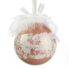Lace And Feather Decorated Vintage Peach Seamless Shatterproof Bauble - 85mm