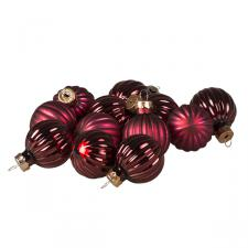 Dark Red Ribbed Glass Baubles - 12 x 3cm